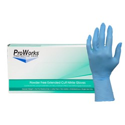 ProWorks® Nitrile Powder Free Extended Cuff Industrial Gloves - Medium