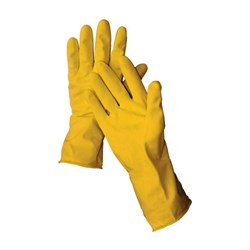 "12"" Latex Yellow Flock Lined Glove 16 mil - Medium"