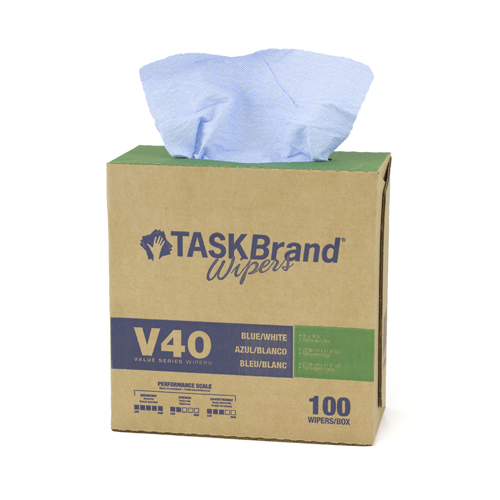 "TASKBRAND V40 HW DRC, 9""X16.5"", INTERFOLD, DISPENSER, BLUE, 100/DISP, 9DISP/CS"