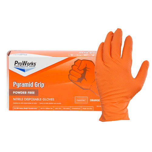 ProWorks Pyramid Grip orange Nitrile Medium