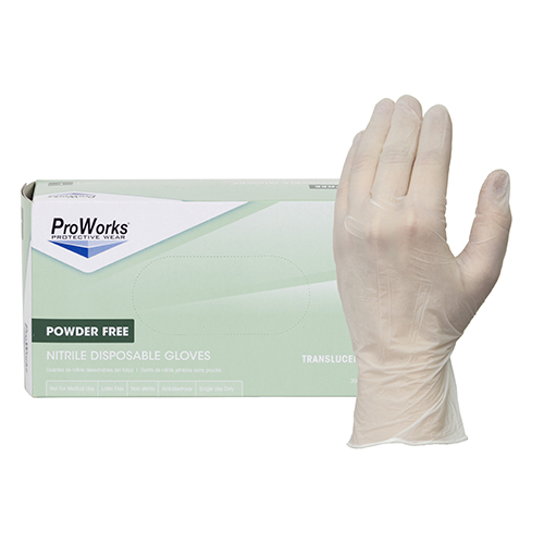 ProWorks® Translucent Nitrile Gloves, Powder Free, Small